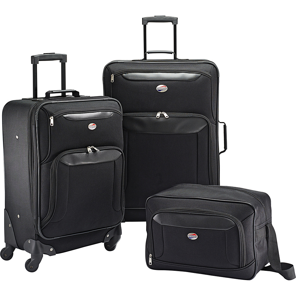 American Tourister Brookfield 3pc Set Black American Tourister Luggage Sets