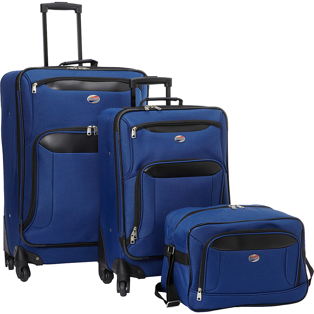 American Tourister Brookfield 3pc Set Navy Black American Tourister Luggage Sets