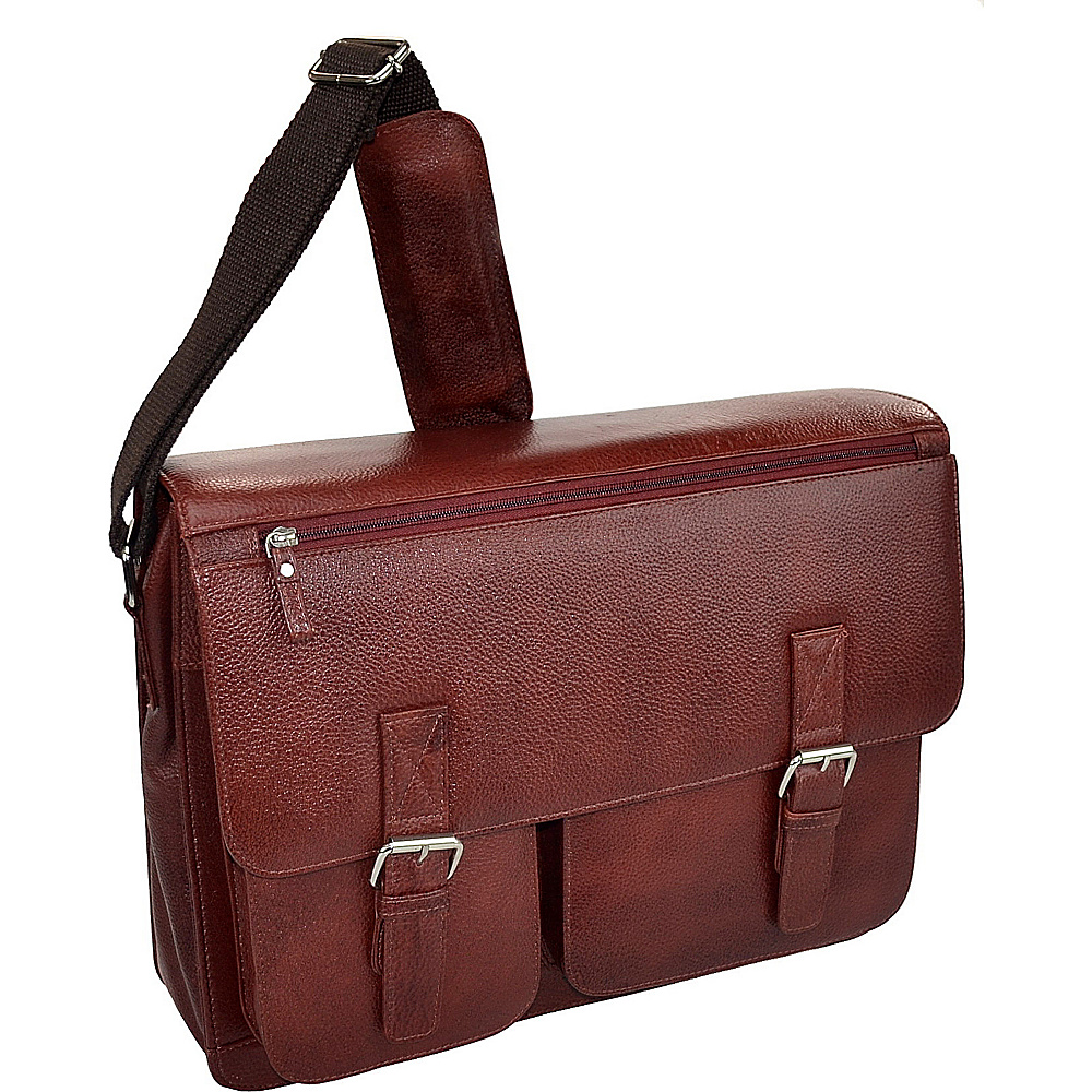 R & R Collections Cow Pebble Gain Leather Front 2 Buckle Mail Bag COGNAC - R & R Collections Non-Wheeled Business Cases