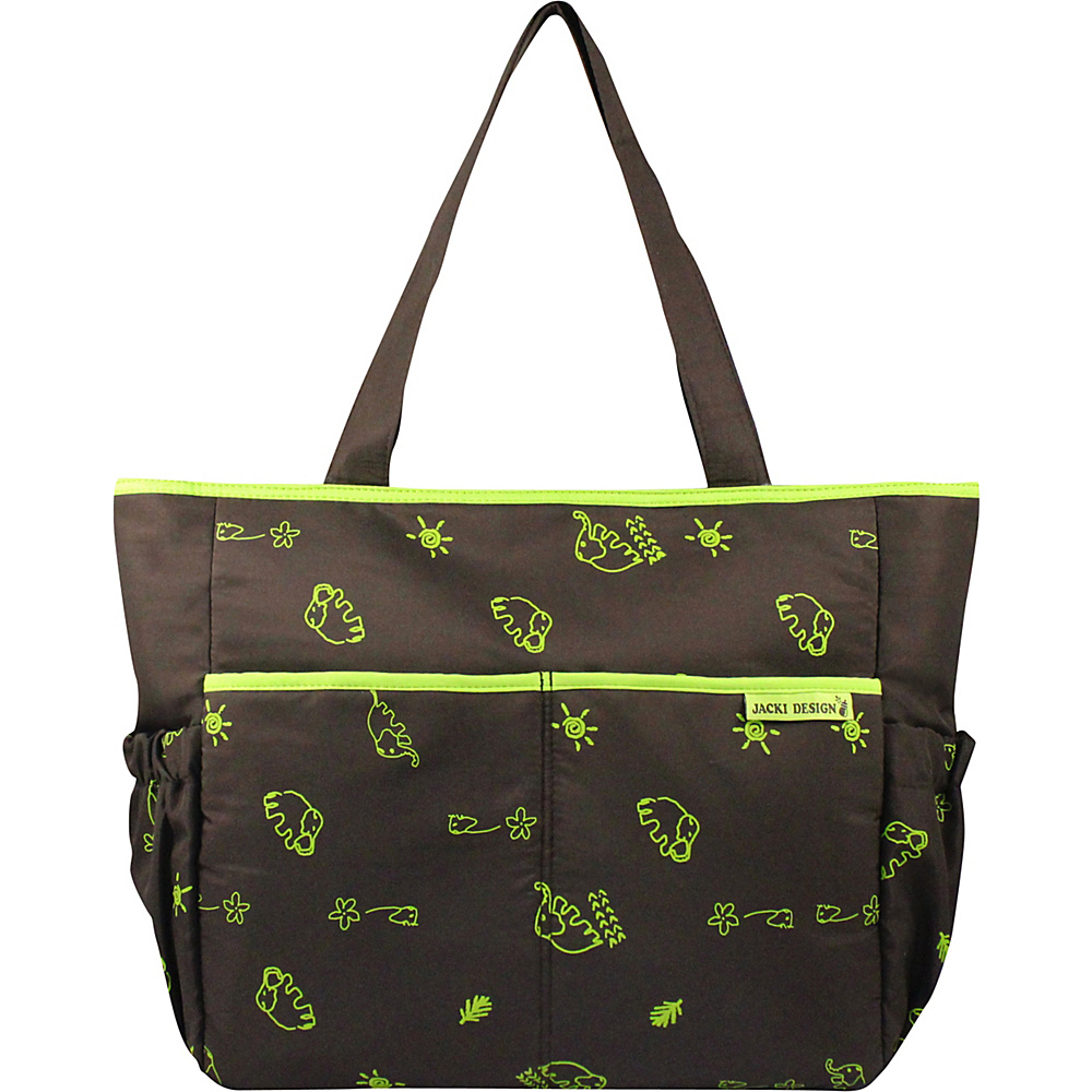 Jacki Design Printed Diaper Bag Brown Green Jacki Design Diaper Bags Accessories