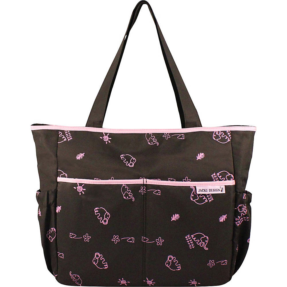 Jacki Design Printed Diaper Bag Brown Pink Jacki Design Diaper Bags Accessories