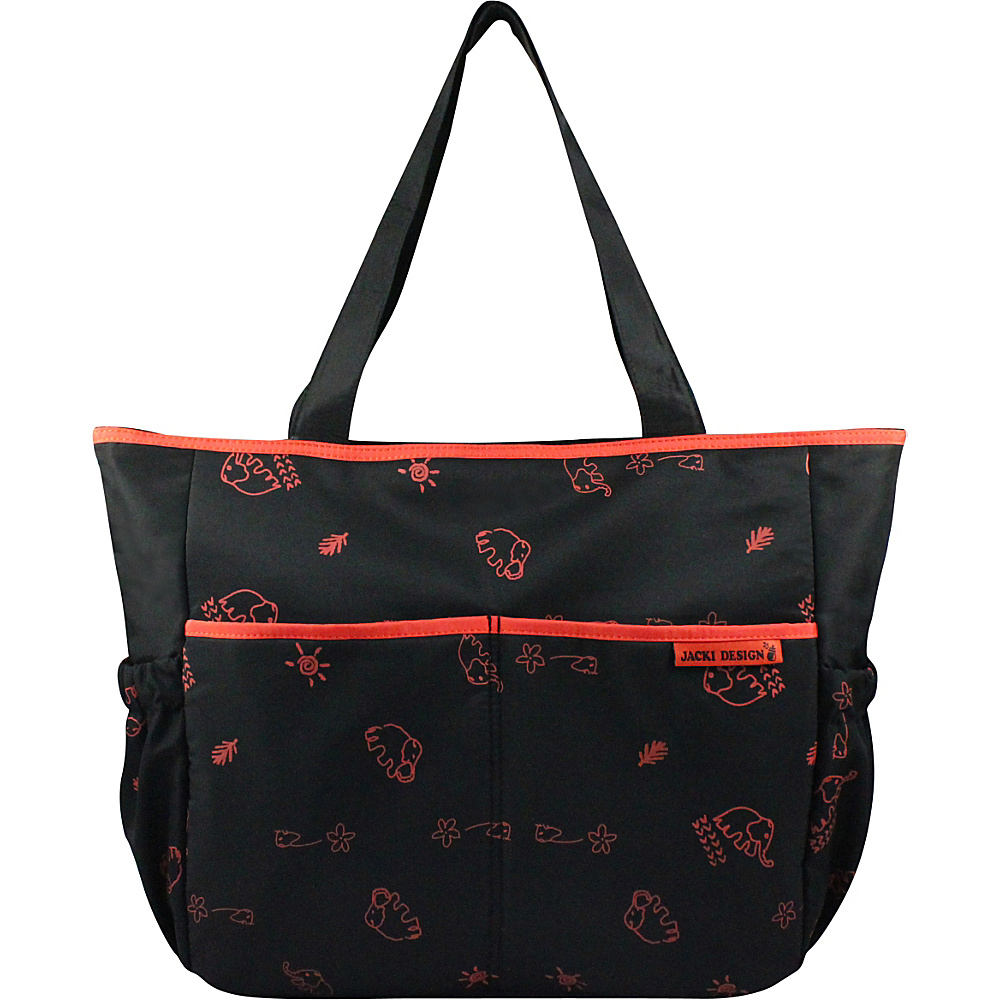 Jacki Design Printed Diaper Bag Black Orange Jacki Design Diaper Bags Accessories