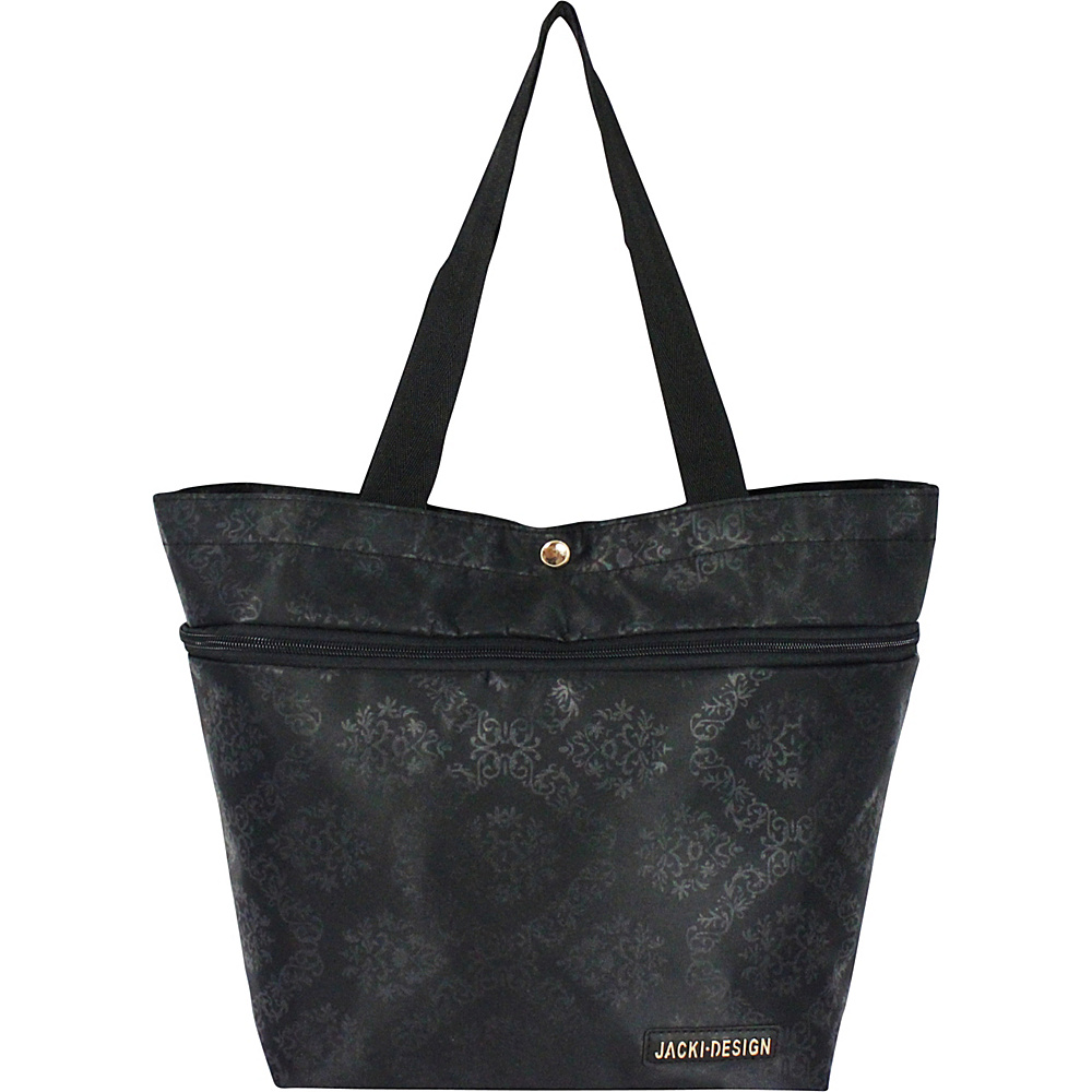 Jacki Design New Essential Expandable Rolling Shopping Grocery Bag Black - Jacki Design All-Purpose Totes