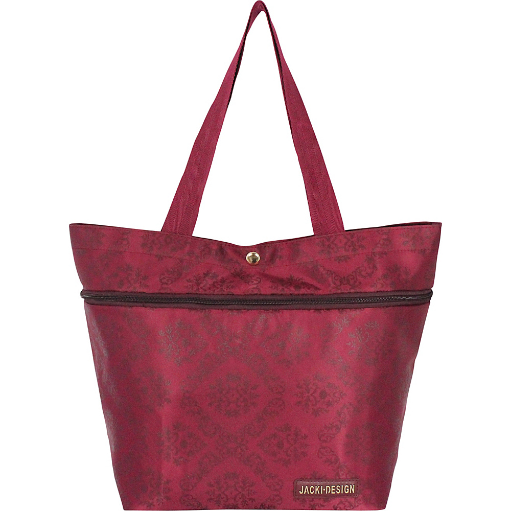 Jacki Design New Essential Expandable Rolling Shopping Grocery Bag Burgundy - Jacki Design All-Purpose Totes