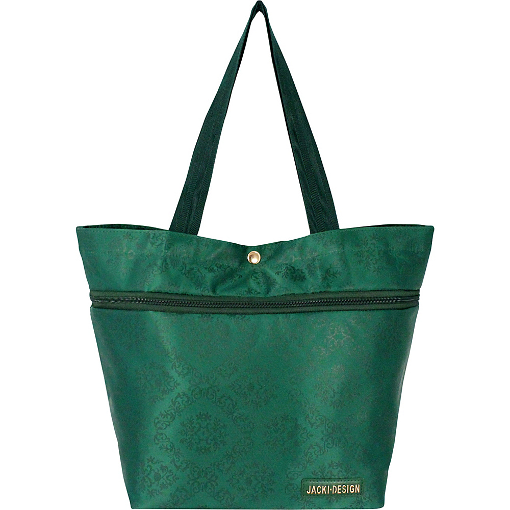 Jacki Design New Essential Expandable Rolling Shopping Grocery Bag Emerald - Jacki Design All-Purpose Totes
