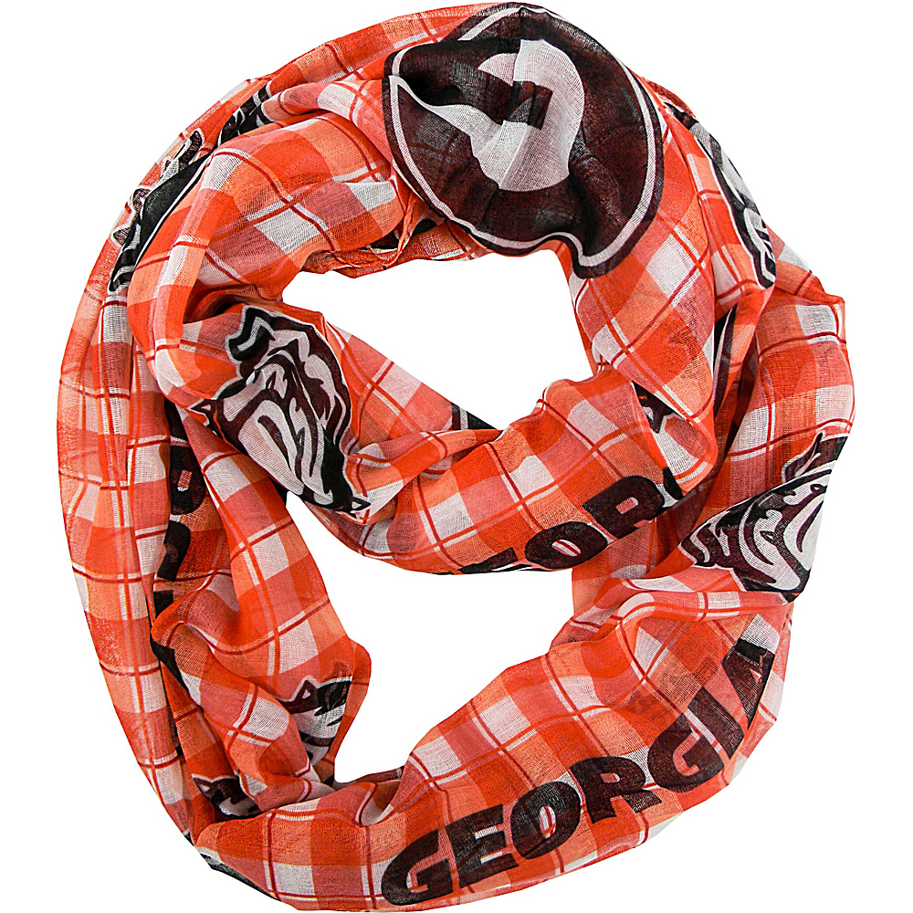 Littlearth Sheer Infinity Scarf Plaid - SEC Teams Georgia, U of - Littlearth Hats/Gloves/Scarves - Fashion Accessories, Hats/Gloves/Scarves