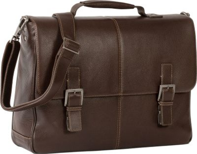 Boconi Tyler Tumbled Brokers Bag Coffee with Khaki - Boconi Laptop Messenger Bags