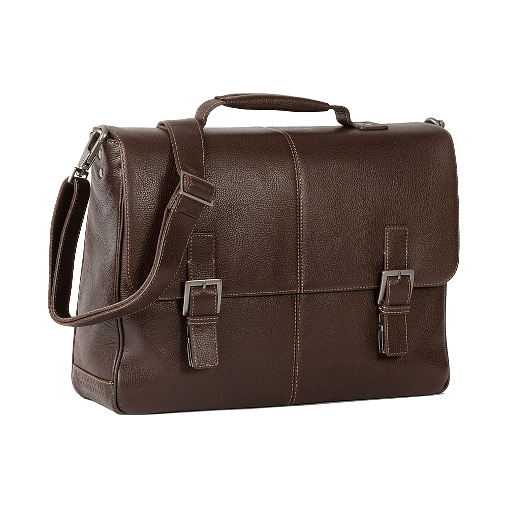 Boconi Tyler Tumbled Brokers Bag Coffee with Khaki Boconi Laptop Messenger Bags