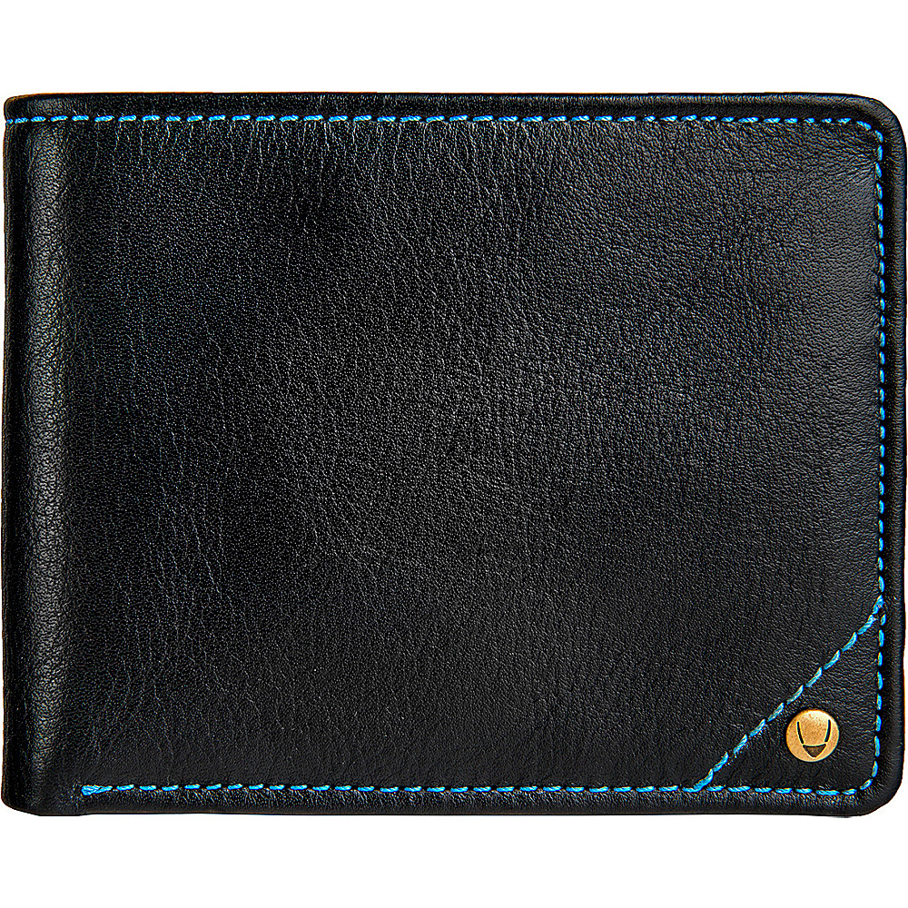 Hidesign Angle Stitch Leather Multi Compartment Leather Wallet Black Hidesign Men s Wallets