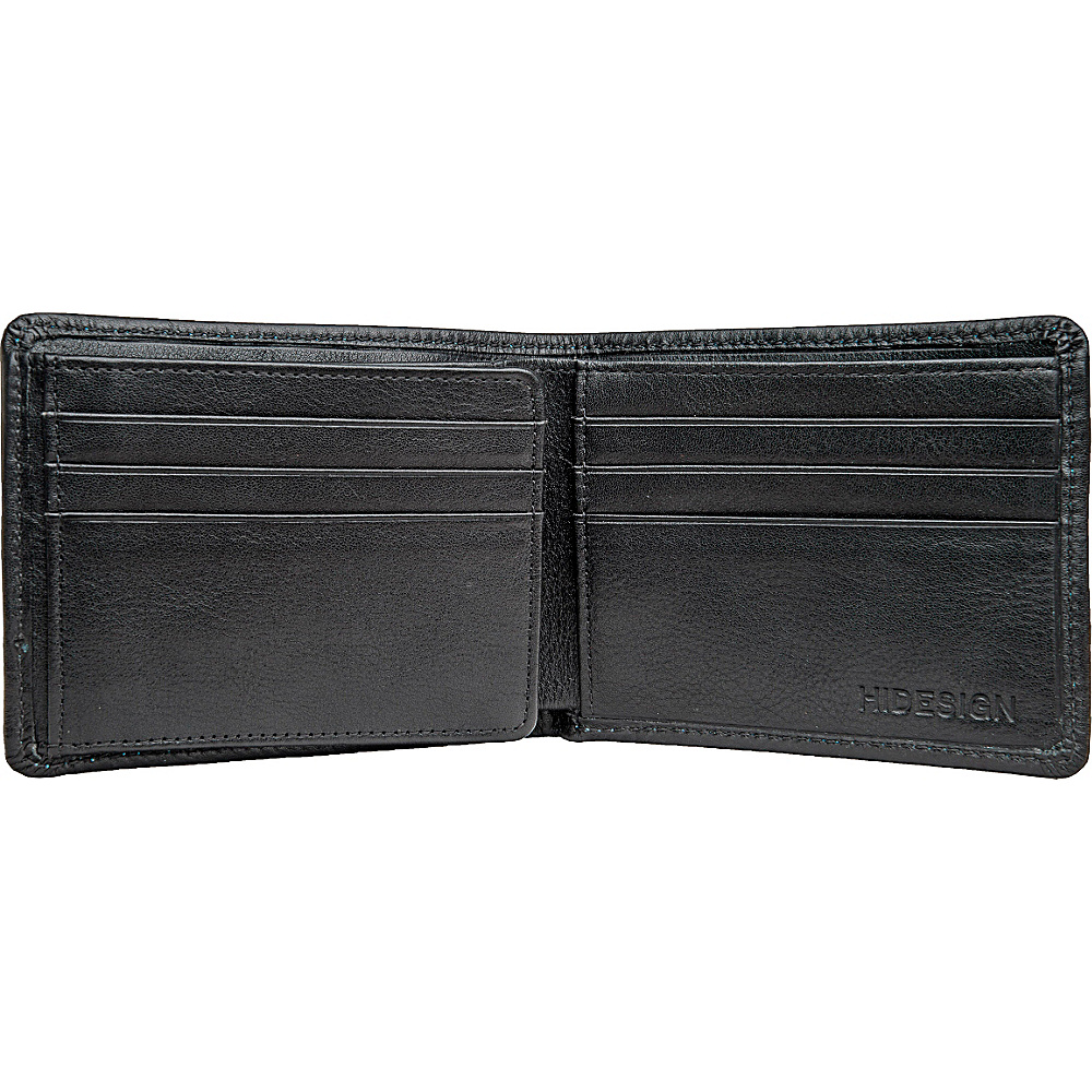 Hidesign Angle Stitch Leather Multi-Compartment Leather Wallet Black - Hidesign Men's Wallets