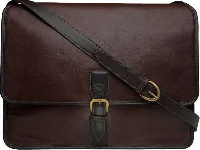 Hidesign Harrison Buffalo Leather Laptop Messenger Brown - Hidesign Messenger Bags