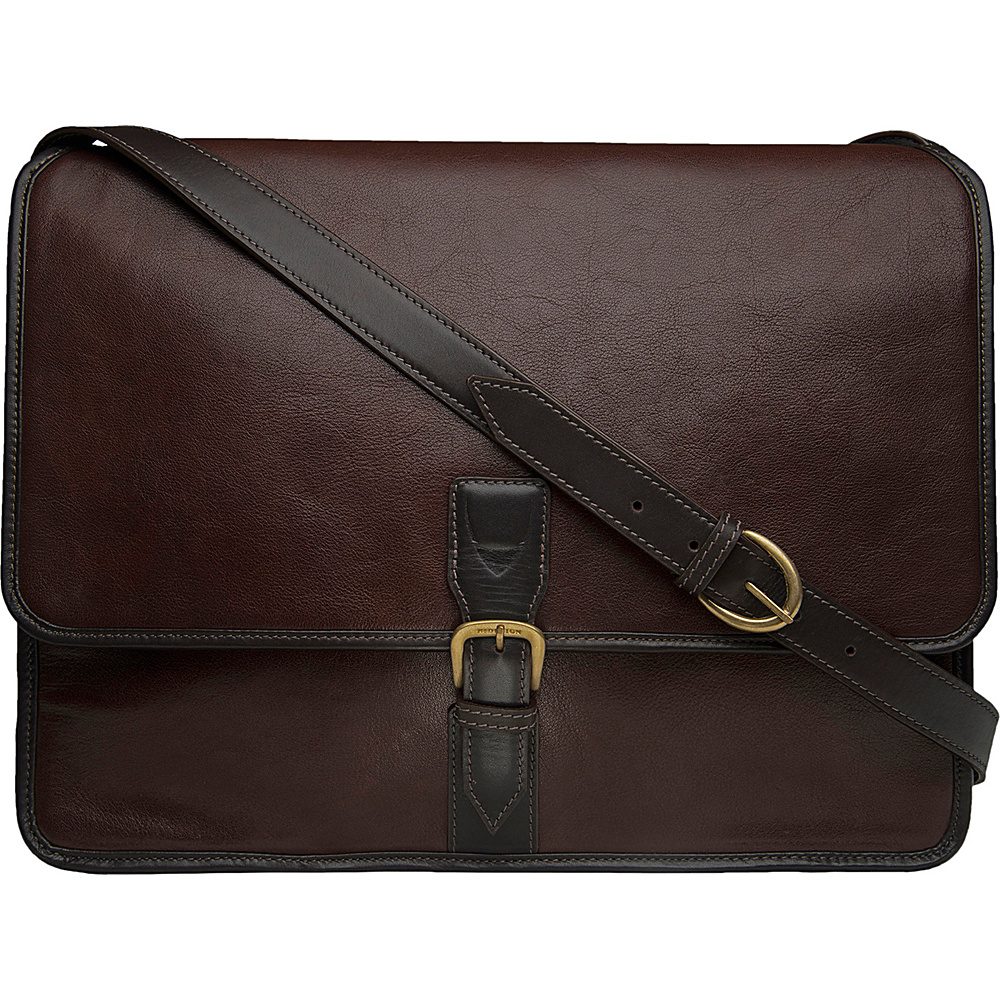 Hidesign Harrison Buffalo Leather Laptop Messenger Brown Hidesign Messenger Bags