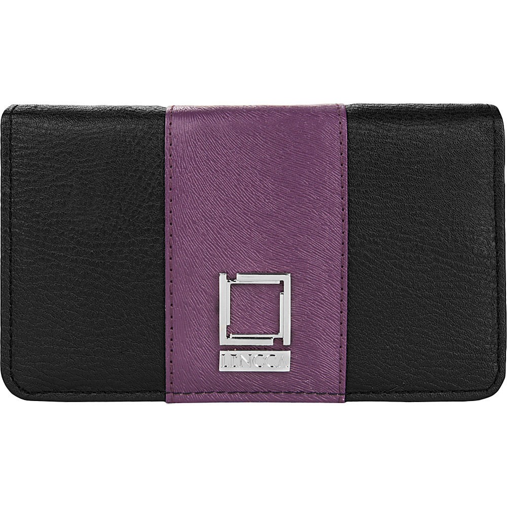 Lencca Kyma Crossbody Shoulder Clutch Black Purple Lencca Manmade Handbags