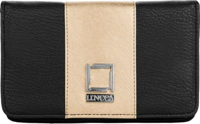 Lencca Kyma Crossbody Shoulder Clutch Black/Gold - Lencca Manmade Handbags