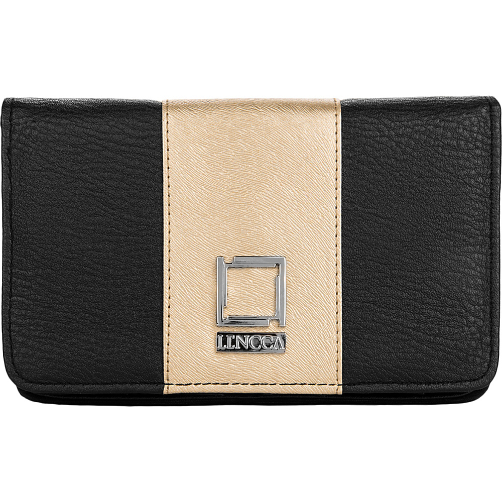 Lencca Kyma Crossbody Shoulder Clutch Black Gold Lencca Manmade Handbags