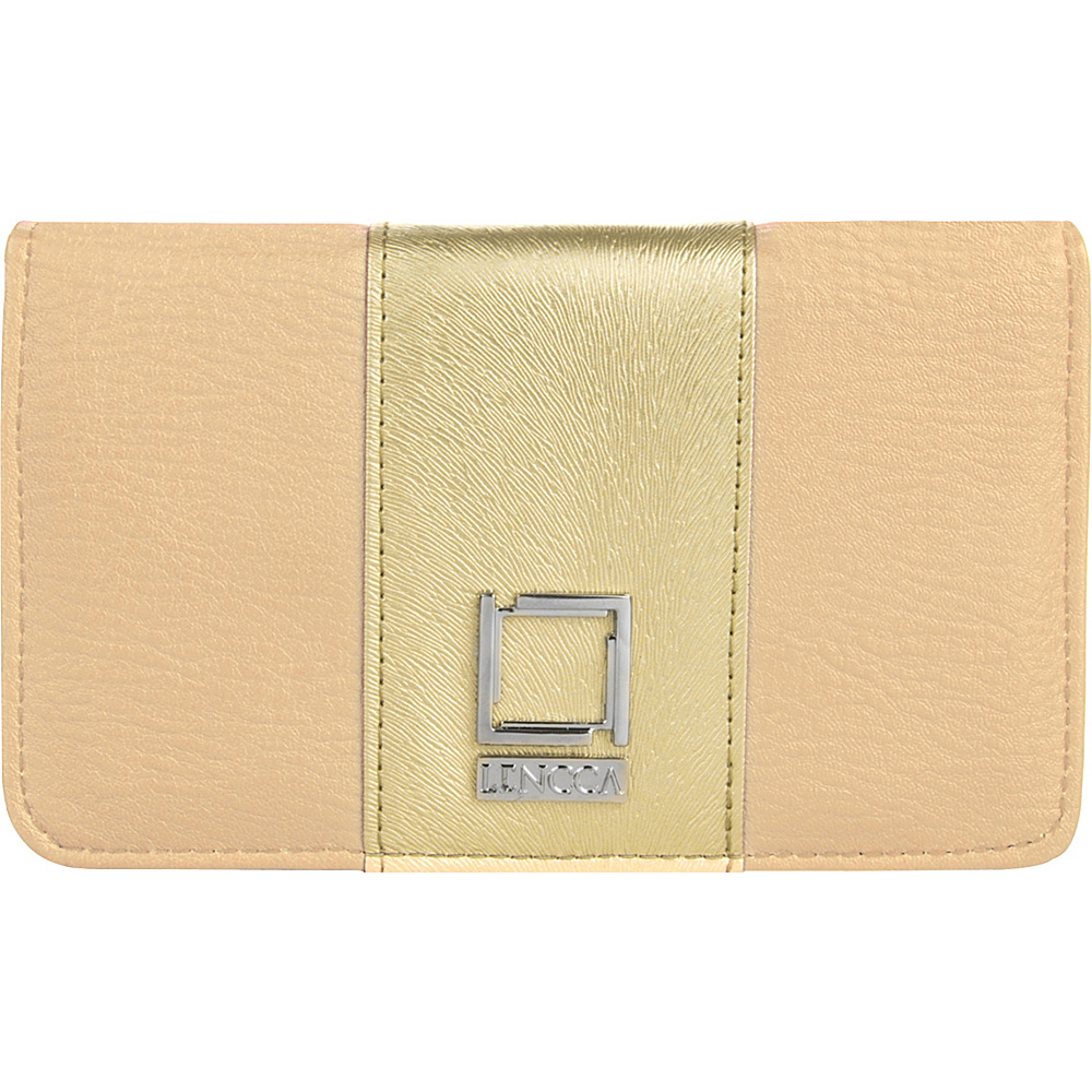 Lencca Kyma Crossbody Shoulder Clutch Beige Gold Lencca Manmade Handbags