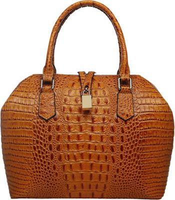 Vicenzo Leather Diane Croc Embossed Top Handle Leather Tote Brown - Vicenzo Leather Leather Handbags