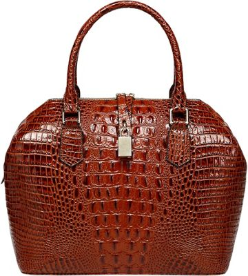 Vicenzo Leather Diane Croc Embossed Top Handle Leather Tote Red - Vicenzo Leather Leather Handbags