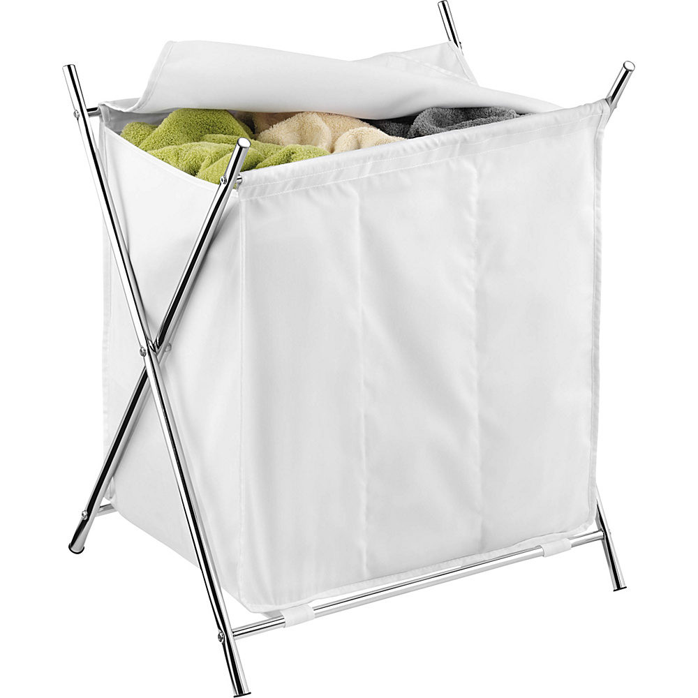 Honey Can Do Chrome 3 Compartment Folding Hamper With Cover white Honey Can Do Travel Health Beauty