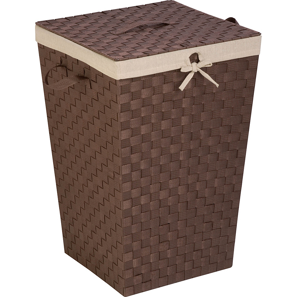 Honey Can Do Woven Strap Hamper With Liner And Lid brown Honey Can Do Luggage Accessories