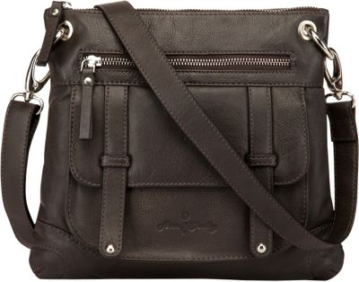 Image of Ann Shelby Felice Leather Crossbody Bag Dark Brown - Ann Shelby Leather Handbags