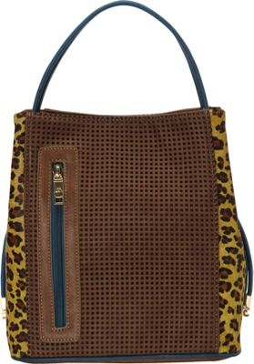 Samoe Samoe Classic Convertible Handbag - Cheetah Haircalf Cocoa w/Cheetah Leather Haircalf CL - Samoe Manmade Handbags