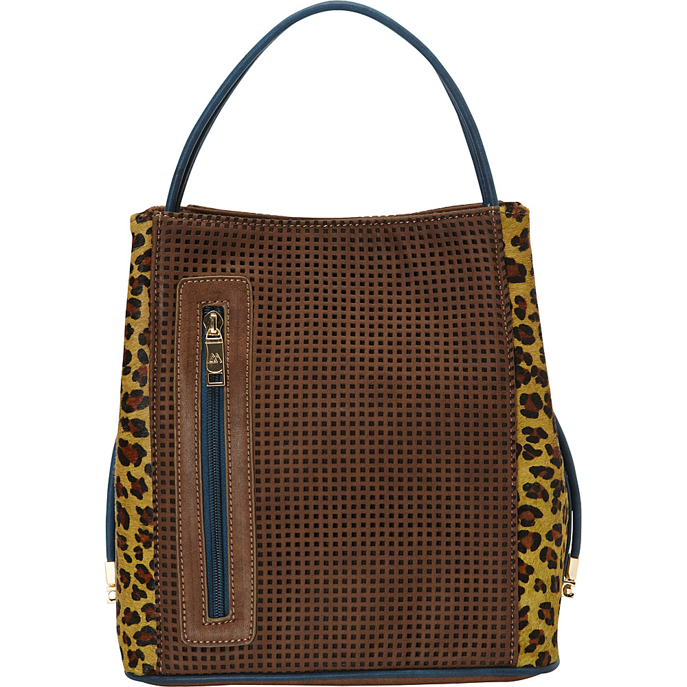 Samoe Classic Convertible Handbag Cheetah Haircalf Cocoa w Cheetah Leather Haircalf CL Samoe Manmade Handbags