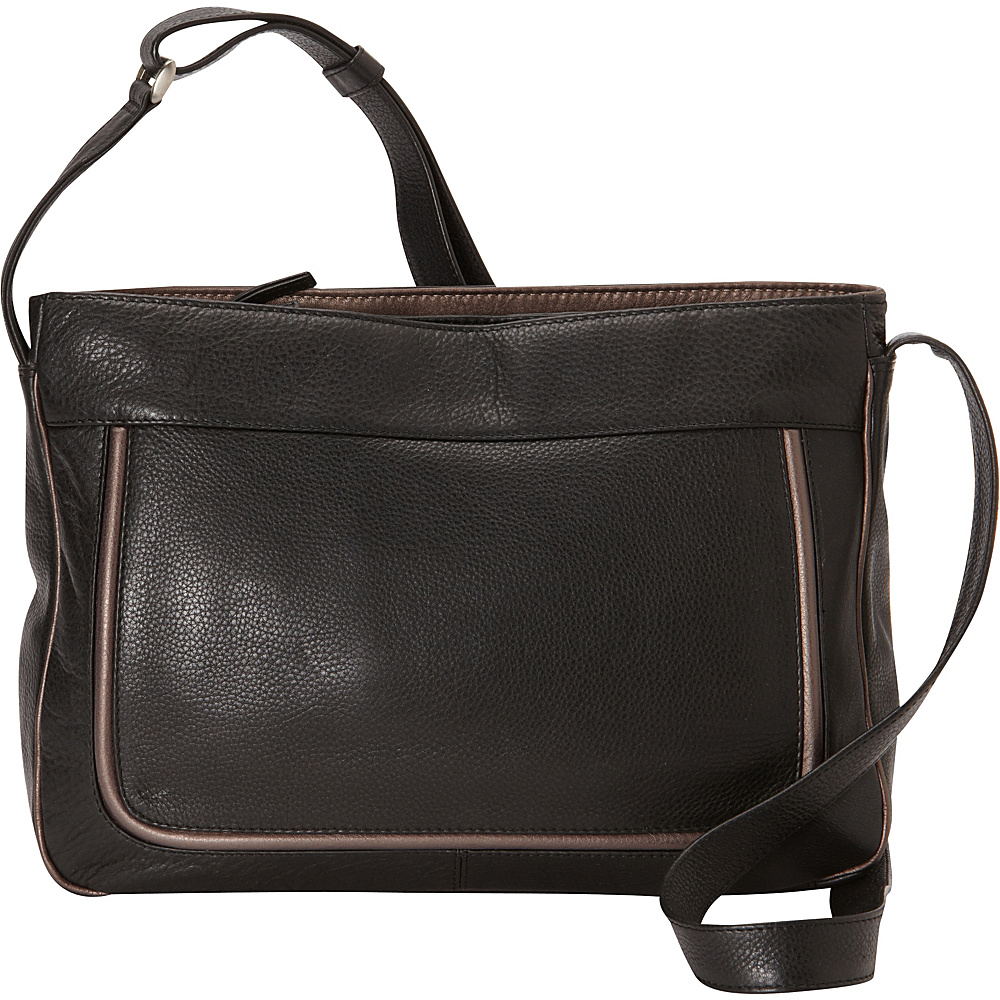 Derek Alexander East/West Top Zips Crossbody Black/Bronze - Derek Alexander Leather Handbags - Handbags, Leather Handbags