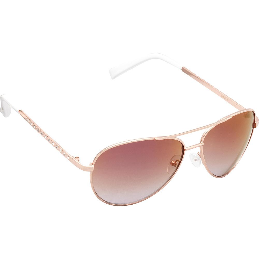 Unionbay Eyewear Metal Rhinestone Aviator Sunglasses Rose Gold White Unionbay Eyewear Sunglasses