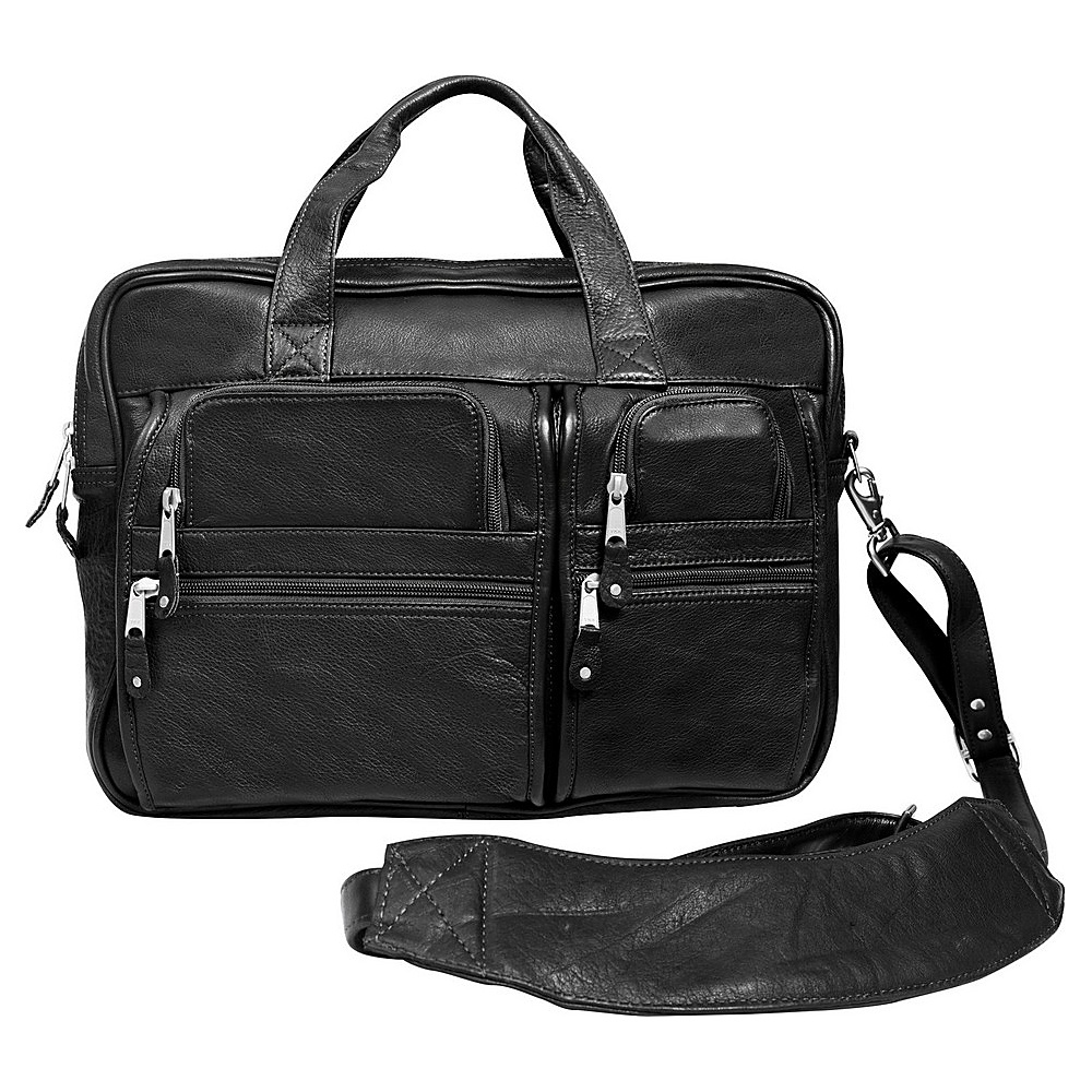 Canyon Outback Water Canyon 16-Inch Leather Computer Briefcase Black - Canyon Outback Non-Wheeled Business Cases