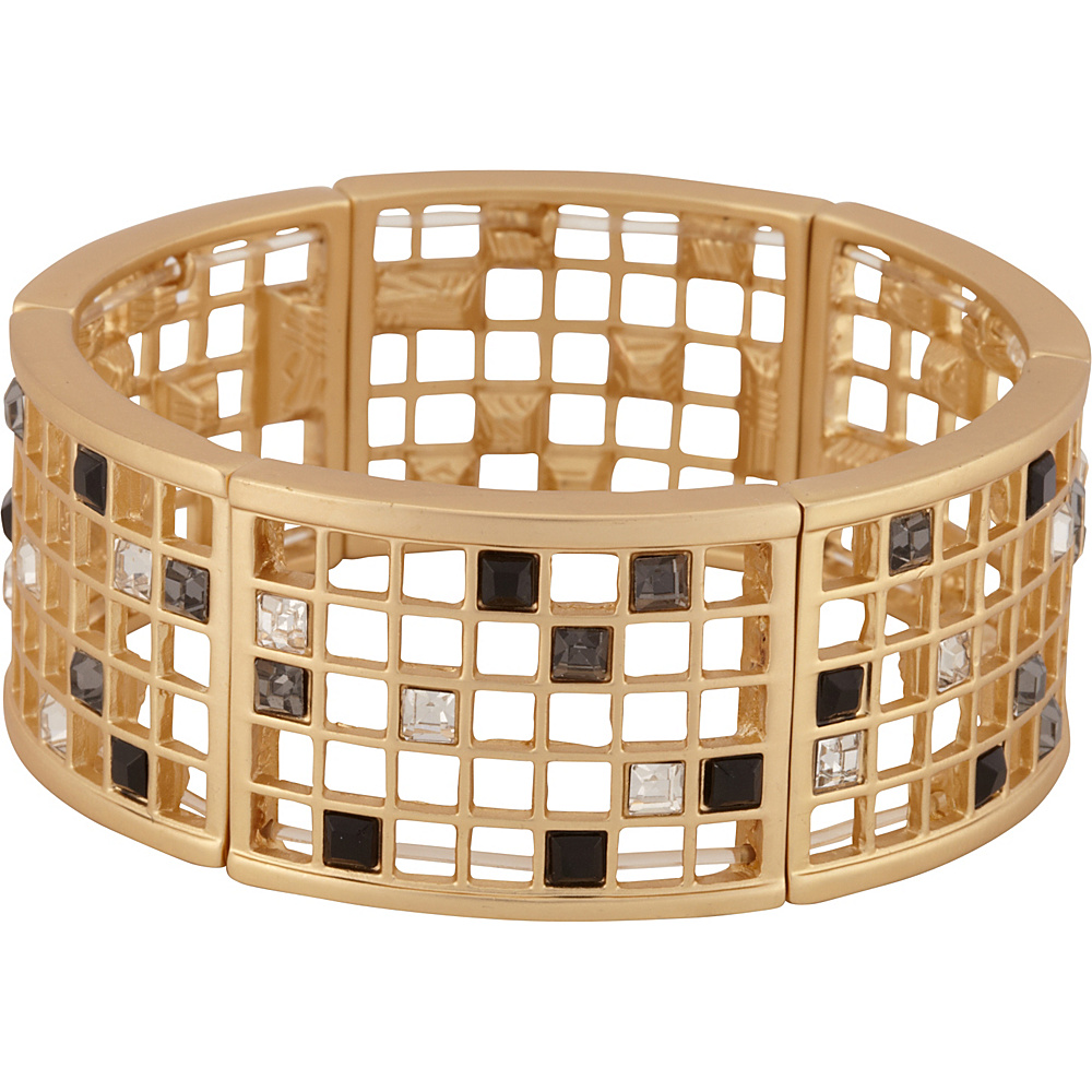 T. Tahari Jewelry Scattered Stone Stretch Grid Bracelet Matte Gold – T. Tahari Jewelry Jewelry
