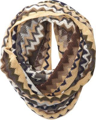 Jessica McClintock Scarves Multi Color ZigZag Infinity Scarf Camel - Jessica McClintock Scarves Hats/Gloves/Scarves
