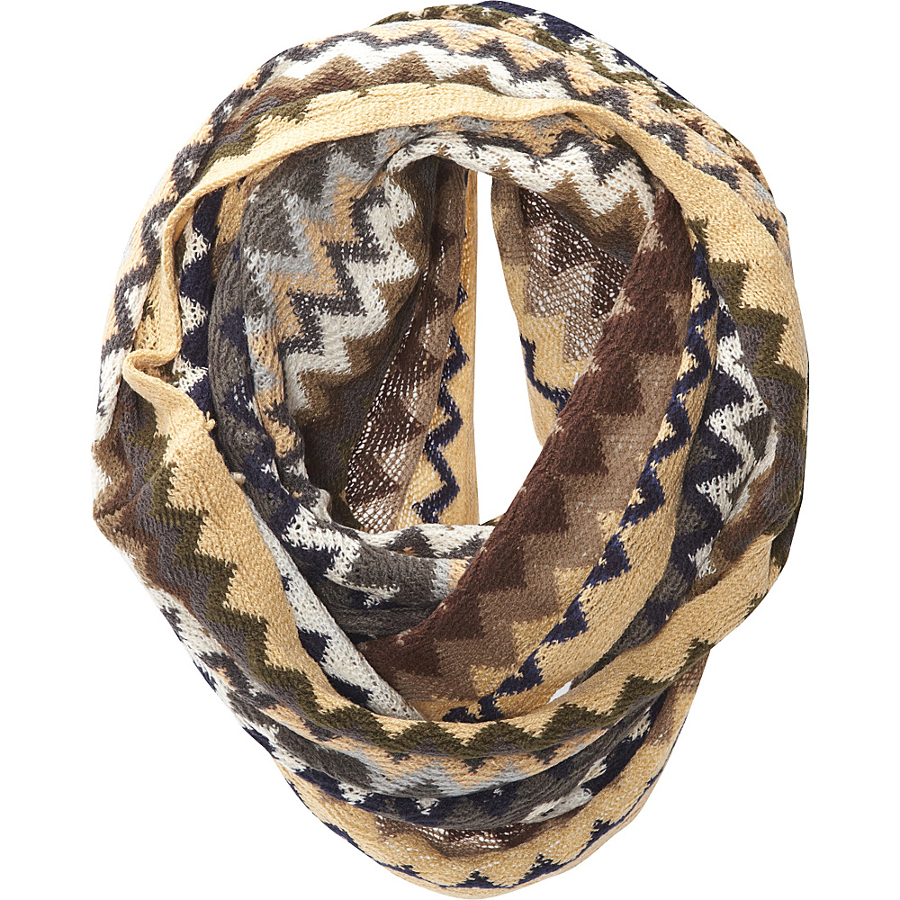 Jessica McClintock Scarves Multi Color ZigZag Infinity Scarf Camel - Jessica McClintock Scarves Hats/Gloves/Scarves