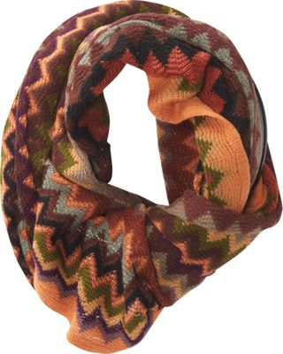 Jessica McClintock Scarves Multi Color ZigZag Infinity Scarf Rust - Jessica McClintock Scarves Hats/Gloves/Scarves
