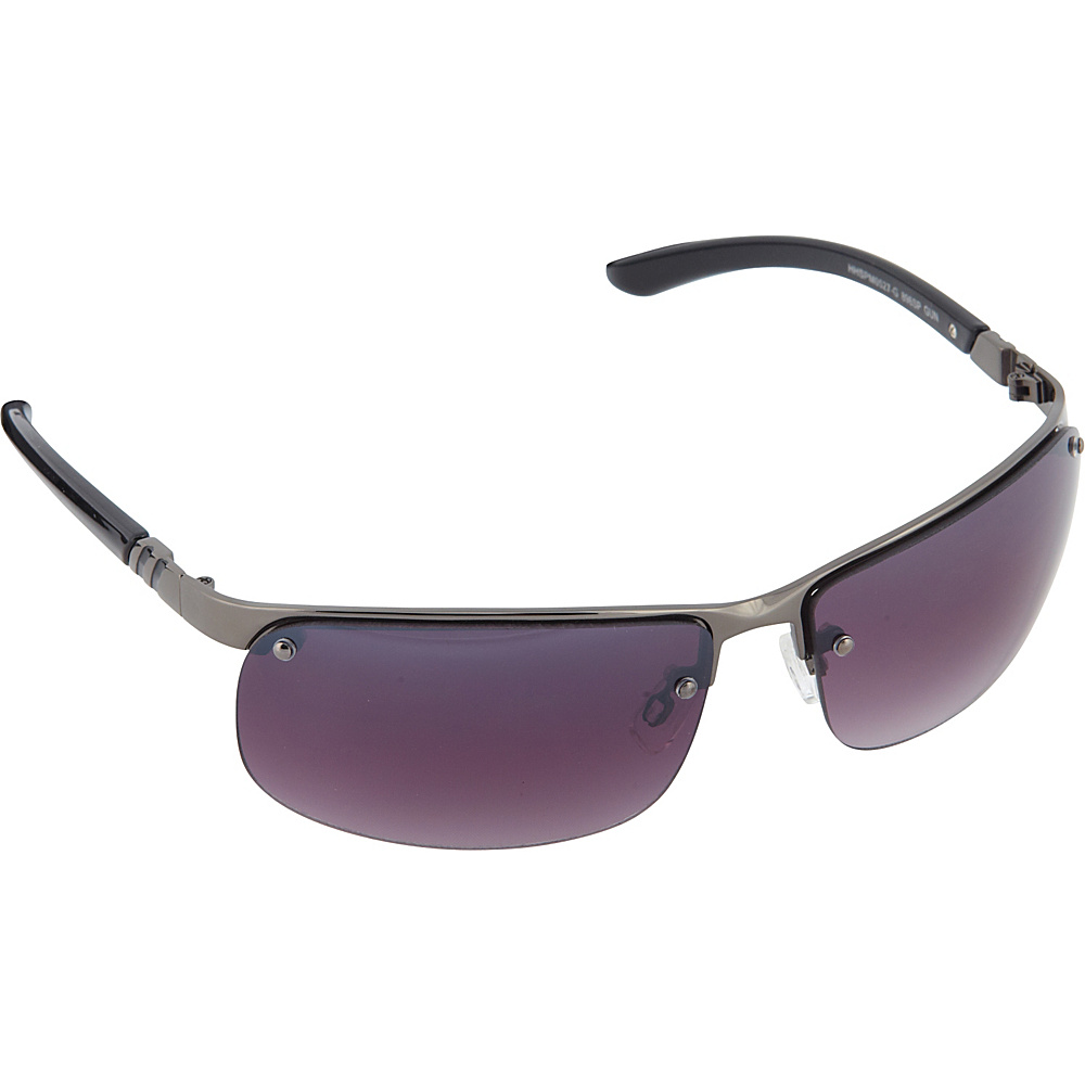 SouthPole Eyewear Semi Rimless Rectangle Sunglasses Gun SouthPole Eyewear Sunglasses