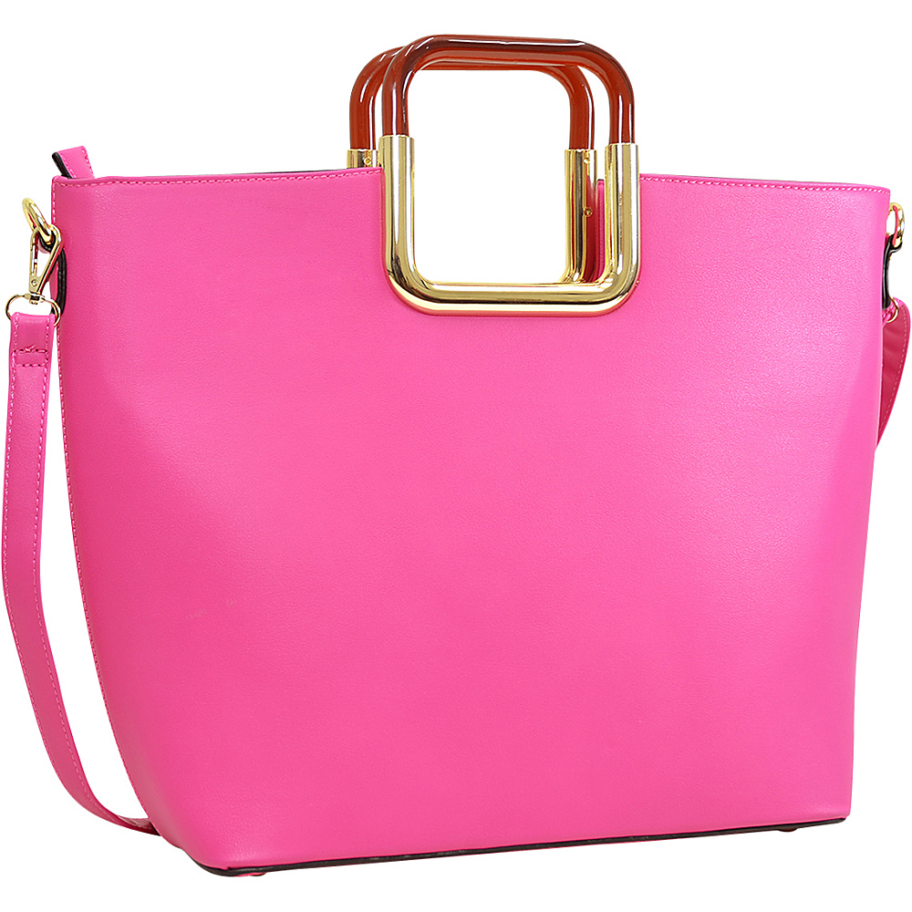Dasein Square Handle Faux Leather Tote w/Removable Shoulder Strap Fuchsia - Dasein Manmade Handbags - Handbags, Manmade Handbags