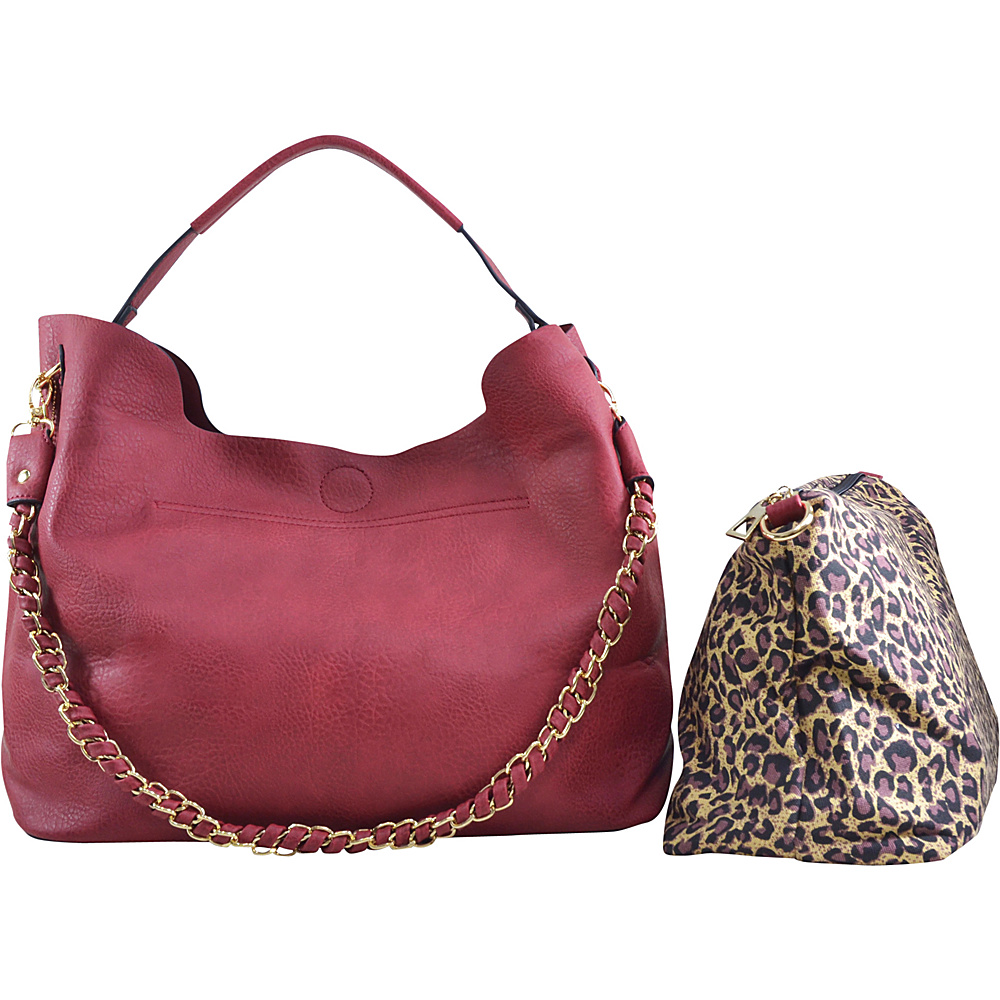 Dasein 2-in-1 Hobo with Organizer Bag Red - Dasein Manmade Handbags - Handbags, Manmade Handbags