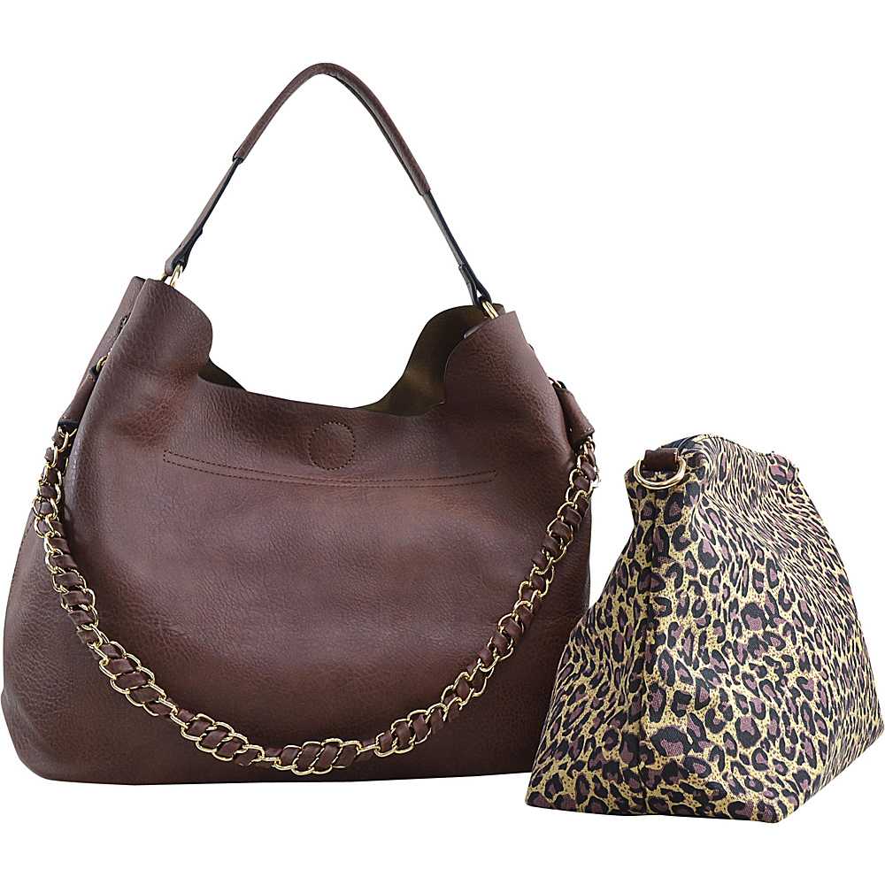 Dasein 2-in-1 Hobo with Organizer Bag Coffee - Dasein Manmade Handbags - Handbags, Manmade Handbags