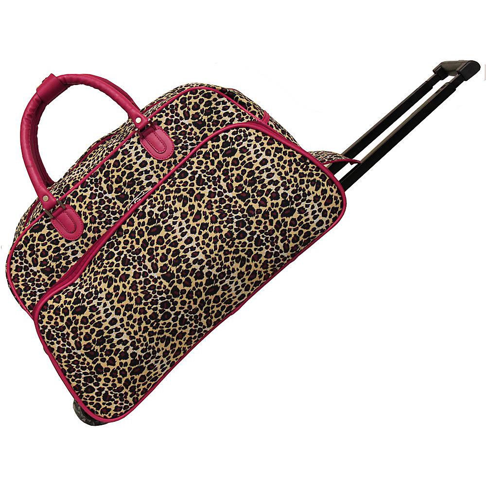 World Traveler Leopard 21 Rolling Duffel Bag Pink Trim Leopard - World Traveler Rolling Duffels - Luggage, Rolling Duffels