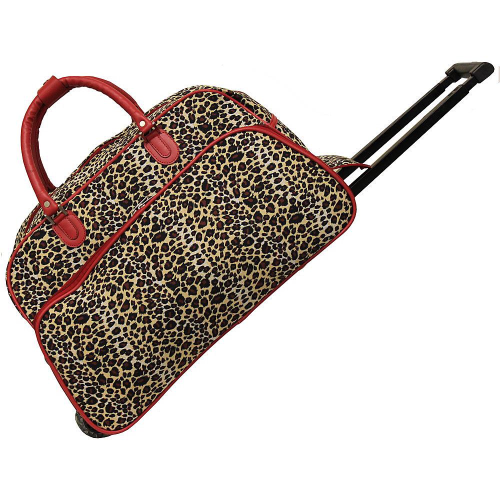 World Traveler Leopard 21 Rolling Duffel Bag Red Trim Leopard - World Traveler Rolling Duffels - Luggage, Rolling Duffels