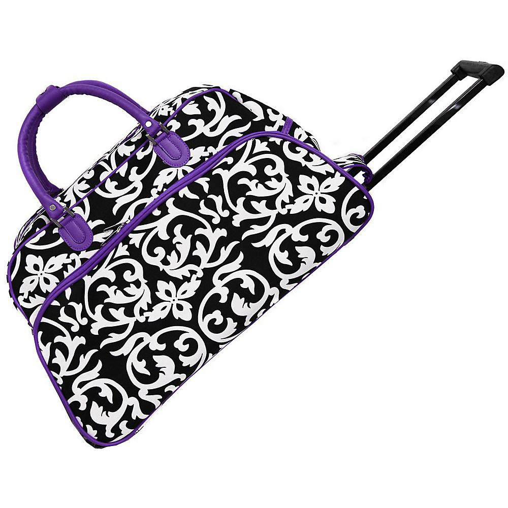 World Traveler Damask 21 Rolling Duffel Bag Dark Purple Trim Damask - World Traveler Rolling Duffels - Luggage, Rolling Duffels
