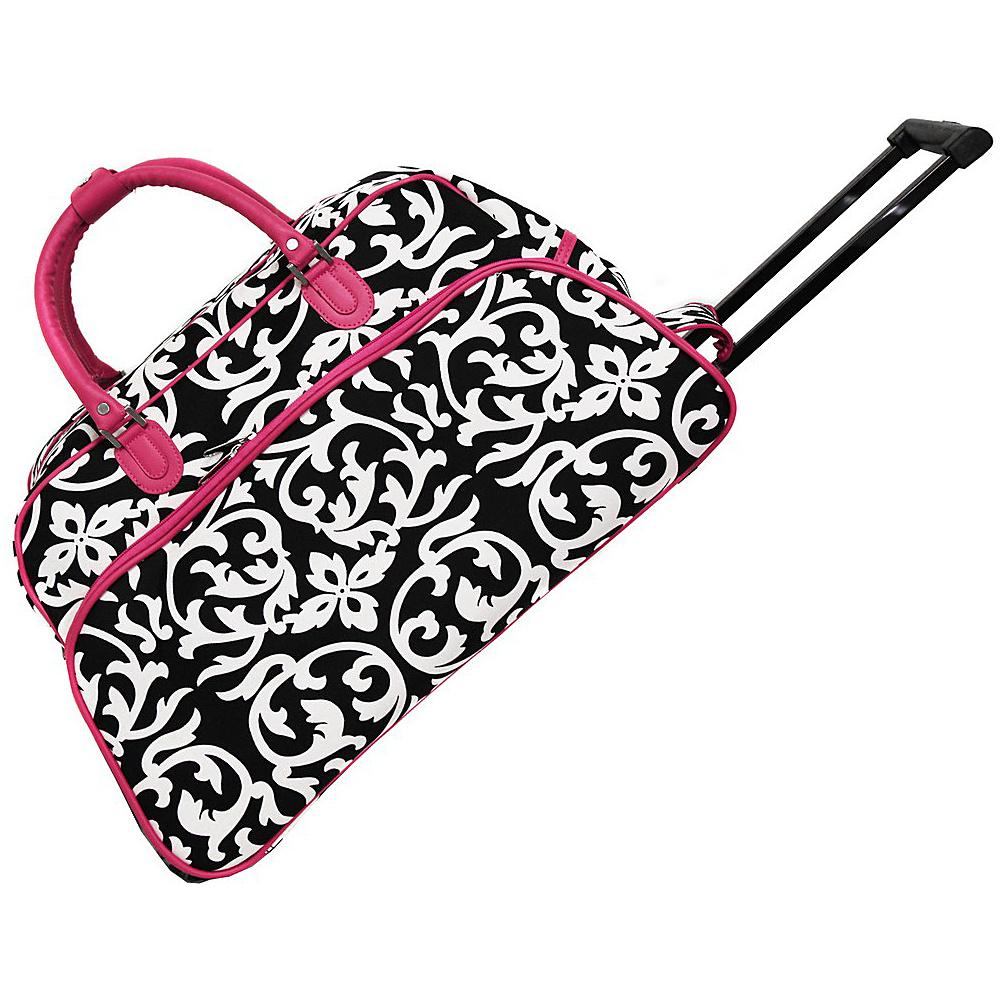 World Traveler Damask 21 Rolling Duffel Bag Pink Trim Damask - World Traveler Rolling Duffels - Luggage, Rolling Duffels