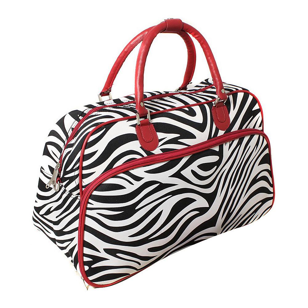 World Traveler Zebra 21 Carry-On Duffel Bag Red Trim Zebra - World Traveler Rolling Duffels - Luggage, Rolling Duffels