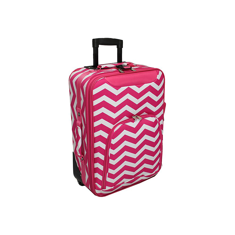 World Traveler Chevron 20 Rolling Carry-On Fuchsia White Chevron - World Traveler Softside Carry-On - Luggage, Softside Carry-On