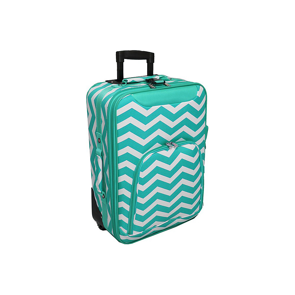 World Traveler Chevron 20 Rolling Carry-On Light Blue White Chevron - World Traveler Softside Carry-On - Luggage, Softside Carry-On
