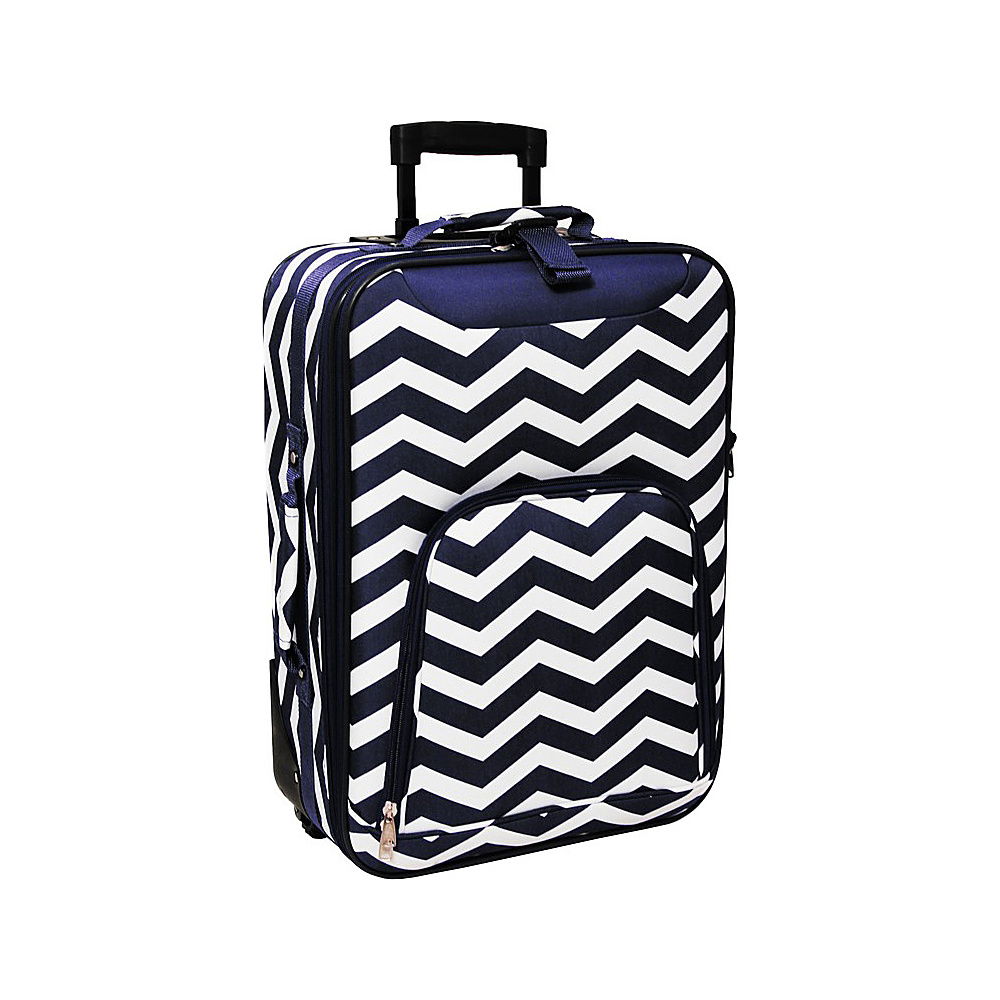 World Traveler Chevron 20 Rolling Carry-On Navy White Chevron - World Traveler Softside Carry-On - Luggage, Softside Carry-On