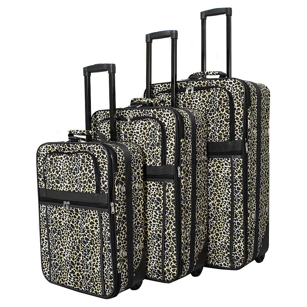 World Traveler Leopard 3-Piece Expandable Upright Luggage Set Black Trim Leopard - World Traveler Luggage Sets - Luggage, Luggage Sets