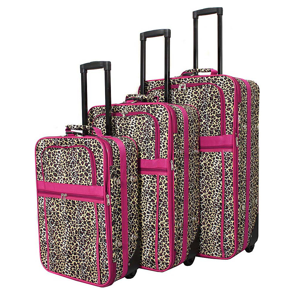 World Traveler Leopard 3-Piece Expandable Upright Luggage Set Pink Trim Leopard - World Traveler Luggage Sets - Luggage, Luggage Sets