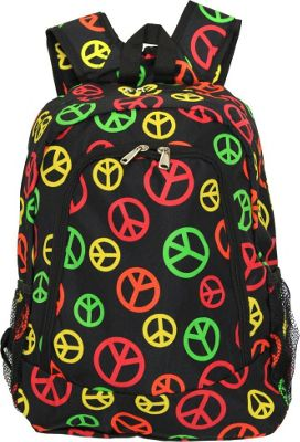 World Traveler Peace Sign 16 inch Multipurpose Backpack Multi Peace Sign - World Traveler Everyday Backpacks