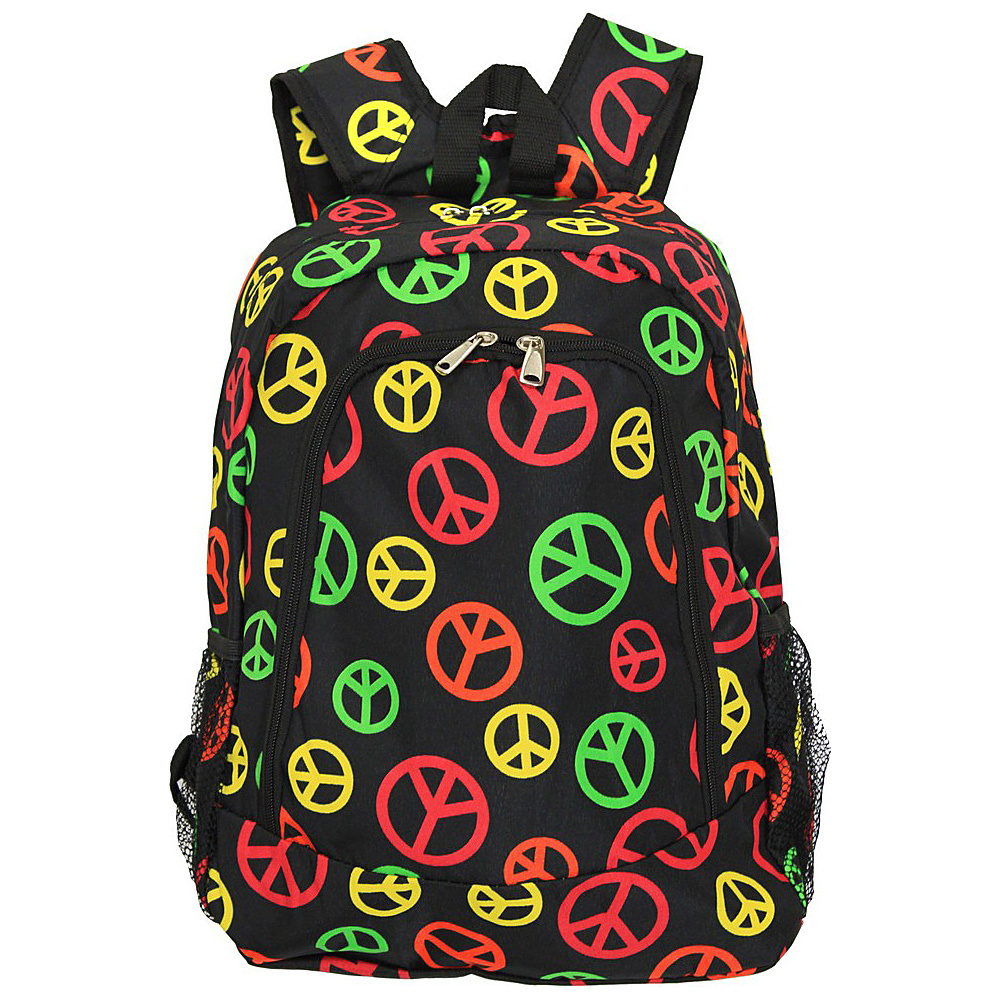 World Traveler Peace Sign 16 Multipurpose Backpack Multi Peace Sign World Traveler Everyday Backpacks
